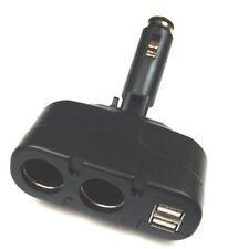 KFZ Ladegerät 2x fach Zigarettenanzünder Adapter Verteiler Black + 2x USB Buchse