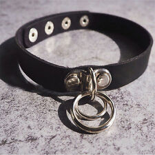 Women's Classic Punk Rock Double O RING Leather Collar Choker Necklace Gift