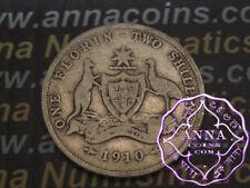 Australia 1910 Edward VII Florin X1, Average Circulated Condition
