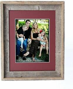Rustic Farmhouse Signature Series Reclaimed Wood Picture Frame with Color Mat