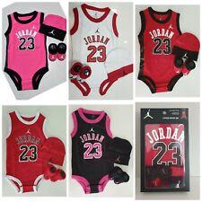 New Nike Air Jordan Box Baby Boy Girl Clothes Bodysuit Romper Beanie Booties