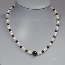 Unikat Halskette Collier aus Perlen und Onyx Geschenk 1768