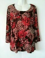 WOMEN'S CHICO'S TRAVELERS MULTICOLOR FLORAL 3/4 SLEEVE SLINKY STRETCHY TOP 3