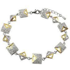 Cubic Zirconia Link Bracelet Sterling Silver Two-tone Finish