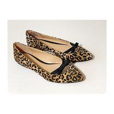 Lauren Conrad Leopard Flats Size 8 Bow Womens Pointed Toe Animal Print Black