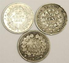 1835W France 1/4 Franc, 1851A and 1854A 20 Centimes silver 3-coins