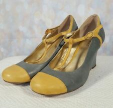 SEYCHELLES Anthropologie Blue & Yellow Leather T Strap Retro Style Wedges 9.5