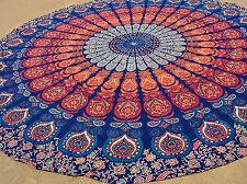 "Round Mandala Tablecloth Multicolor Cotton 70"" Beach Sheet Yoga Peacock Roundie"