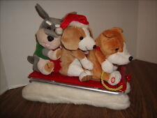 GEMMY CHRISTMAS ANIMATED MUSICAL PLUSH DOGS Sleigh Ride Together