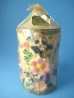 Vintage Peggy Francis Original Candle Carved Sculpted Butterflies Flowers Unused