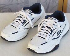 9.5 | Skechers Monaco TR Relaxed Fit Men White Navy Running Athletic Sneaker