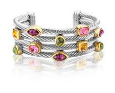 NEW Silver & 18K Gold Plated Cable Bracelet Bezel Multi-Color Crystal Bangle