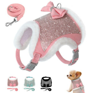 Rhinestone Harness for Small Dogs XS Bowknot Luxury Puppy Jacket Vest with Lead