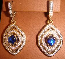 White Topaz and Sapphire (Imitation) Pierced Earrings Set in Bronze