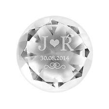 Personalizzato iniziali Diamond glass paperweight Natale Regalo Di Nozze Fidanzamento