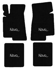 NEW! BLACK FLOOR MATS 1968-1974 Chevy II Nova Embroidered Logo Silver on All 4