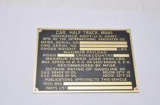 Halftrack M9A1 IHC International Dataplate BRASS G147 WW2