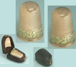 Antique 15 Kt Two Color Gold Thimble in Case  * English * Circa 1850