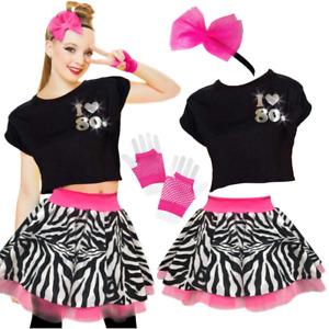 Womens 80's TOP SKIRT fancy dress Costume NEON ZEBRA Skirt & TOP UK ALL SIZES
