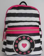 NWT Betsey Johnson Black Stripe Mix & Match Kitch Telephone North South Backpack