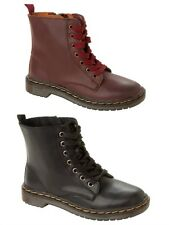 GIRLS LACE UP COMBAT STYLE MILITARY ZIPPER ANKLE FASHION BOOTS SHOES UK SIZE 9-2