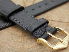 Hirsch Duke Mens Vintage Watch Band Water Resistant Black Crocodile Grain 20mm