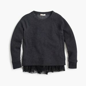 J.Crew Girls' fabric-hem sweatshirt Black Size 6-7 item H3395 J