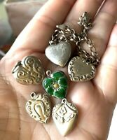 6 ANTIQUE VICTORIAN ENGRAVED PUFFY HEART CHARMS LOT WITH CHAIN BRACELET