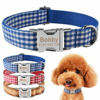 Fabric Personalized Dog Collar Custom Engraved Pet ID Name S M Small Large Puppy