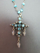 """Sterling Silver Cross Necklace Pendant Blue Moon Glow Beads 18"""" SCC 925 Cabochon"""