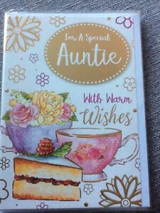 For A Special Auntie With Warm Wishes.Pretty Flowers/cake Design Quality Card.