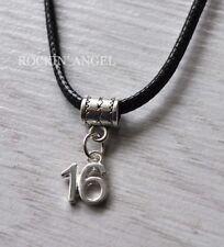 Rhodium Plt Number '16' Pendant Necklace Girls Boys 16th Birthday Gift Unisex