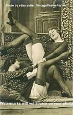 Vintage/Old 2 Sexy 1920s Flapper Girls Holding Hands Stockings Heels Legs Photo