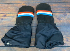 Vintage 70s Striped Lined Snowmobiling Snowmobile Winter Mittens Gloves Japan