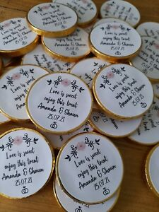 105 x Personalised Chocolate Coins Wedding Favours