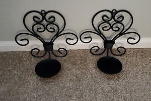 Pair of Black Metal Wall Sconce Candle Holders - Vintage - Beautiful Decor