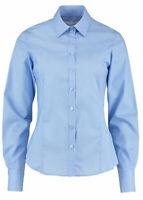 Kustom Kit Ladies LIGHT BLUE  Long Sleeve business Shirt top,  Office etc KK743F