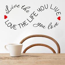 Amor The Life You Live Vinilo Pegatina Pared Moderno Frase Decoración Hogar Cama