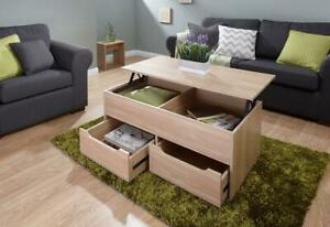 Oak Coffee Table With Lift Up Top and 4 Wide Storage Drawers Living Room