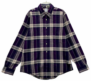 Brooks Brothers Men's Long Sleeved Casual Shirt Size L Large Purple Non Iron