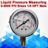 """Liquid Oil Filled Pressure Air Water Gauge 55mm 5000 PSI  Meter 1/4""""NPT"""