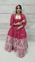 Vintage Hard Plastic Spanish Bride Doll Painted With Veil Fan
