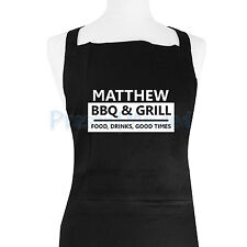 Personalised Apron Men's BBQ & Grill Black Apron Great Birthday Fathers Day Gift
