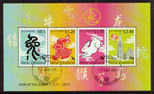 NEW ZEALAND 2011 YEAR OF THE RABBIT MINIATURE SHEET FINE USED