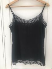 The Kooples Black Skull Lace Cami Camisole Top Large L Silk Goth Boho