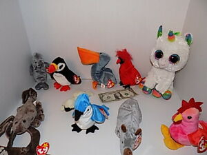 Lot of 9 Retired Ty Teenie Beanie Babies 1990's