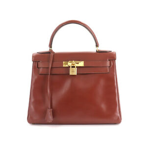 HERMES Kelly 28 Hand Bag Box Calf Leather Bordeaux Purse 90133557