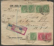 India 1911 OHMS Cover to USA with Letter Official Trustee of Bengal