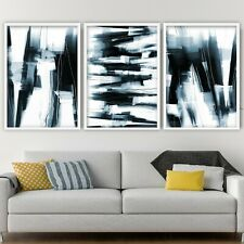 More details for 3 abstract black & navy art prints from original textured painting mix size v3