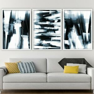 3 Abstract Black & Navy Art Prints from Original Textured Painting Mix Size V3